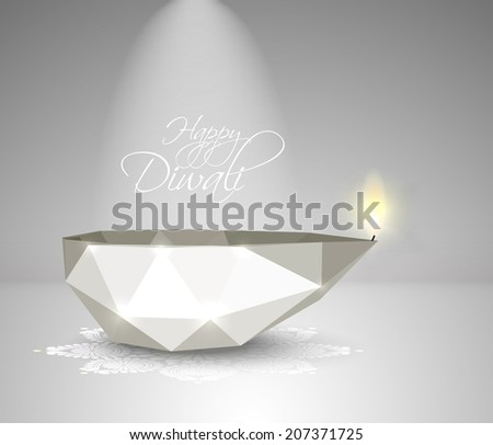 Vector Polygonal Diwali Diya Oil Lamp