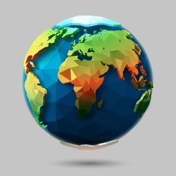 Vector polygonal earth icon. Origami style 3D planet. Low poly design.