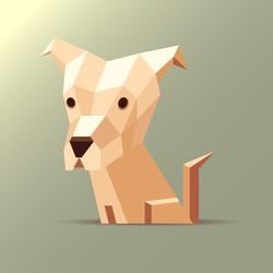 Vector polygonal illustration of a light white and orange beige origami dog