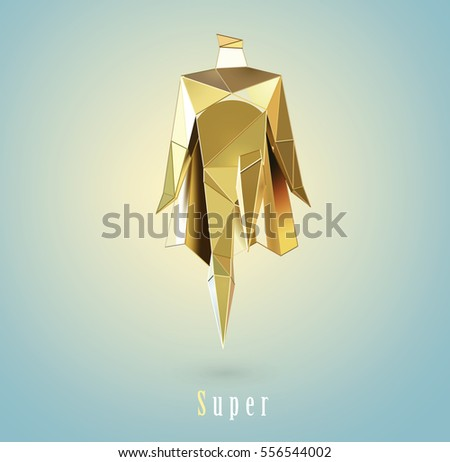 Vector Polygonal Illustration Of Gold Super Hero Origami Style Icon Modern Cartoon