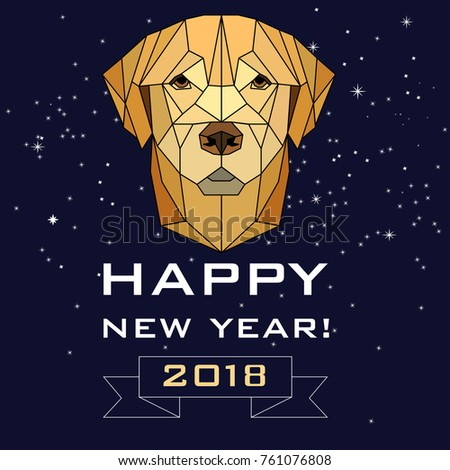 vector polygonal image of a dog