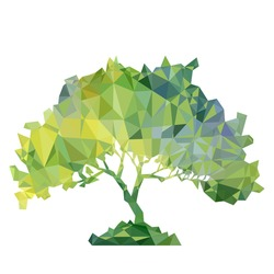 vector polygonal silhouette of of green deciduous tree, triangulation of nature element