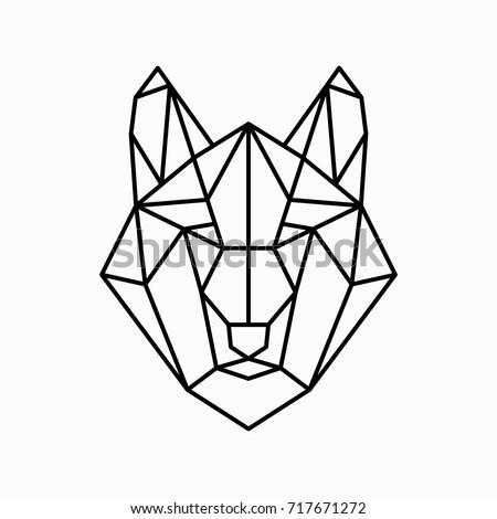 Vector polygonal triangular illustration of animal head. Origami style outline geometric wolf