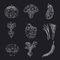 Vector polygonal vegetables set. Abstract illustration. White and black.