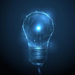 Vector polygonal wireframe shining light bulb - innovation, technology, creativity