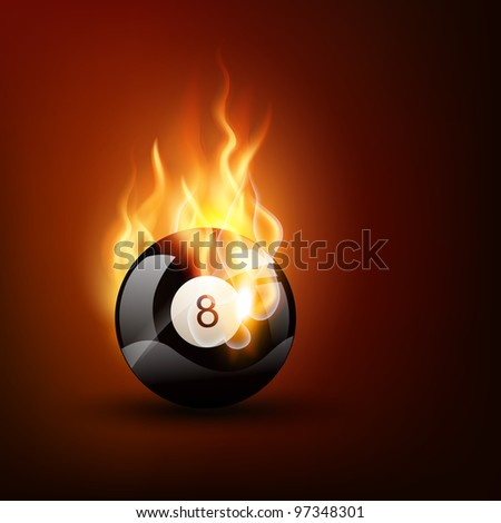 vector pool game ball in burning style