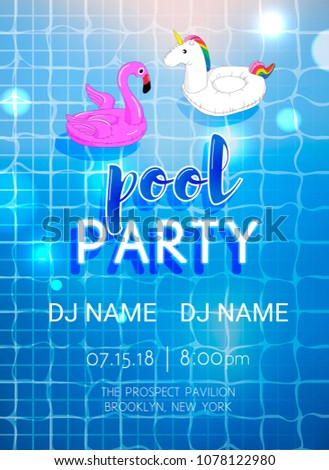 vector pool party flyer