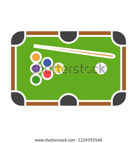vector pool table icon. Flat illustration of billiard. billiard table isolated on white background. leisure sign symbol - gambling