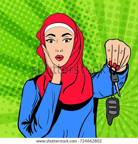 Vector pop art comic retro style illustration of muslim beautiful woman in hijab with happily surprised expression holding car keys. Concept of allowance for saudi women to drive