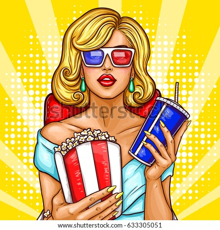 Vector pop art illustration of a beautiful blond woman sitting in the auditorium and watching a 3D movie. A girl in 3D glasses sits in a red armchair and holds a container with popcorn and soda
