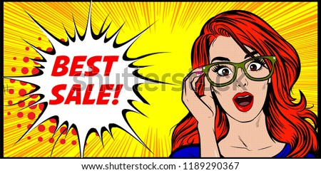Vector pop art illustration of an excited happy and surprised smart woman. Shocked expression and open mouth. Best sale symbol. Vector illustration in retro comic book style. Pop art background