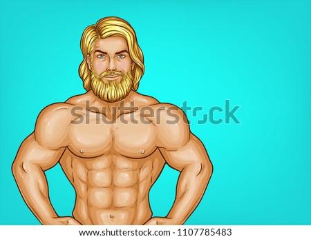 vector pop art naked chest male