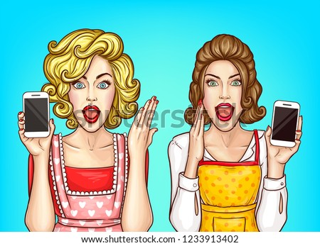 Vector pop art pretty women holding phone, excited housewives in apron, blouses. Beautiful girls with smartphone gossip. Shocked characters with open mouths isolated on blue background.
