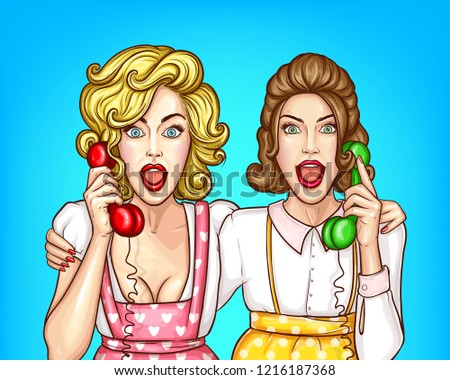 Vector pop art pretty women talk on the phone, excited housewives in apron, blouses. Friends hug each other. Beautiful girls gossip, shocked characters with open mouths isolated on blue background.