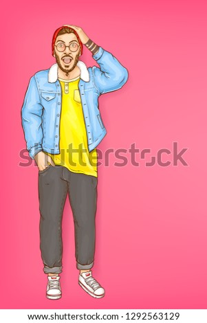 Vector pop art shocked character with open mouth, man in red beanie, blue fur jacket and snickers. Surprised bearded guy, hipster isolated on pink background. Young person for ad poster, promo banner.