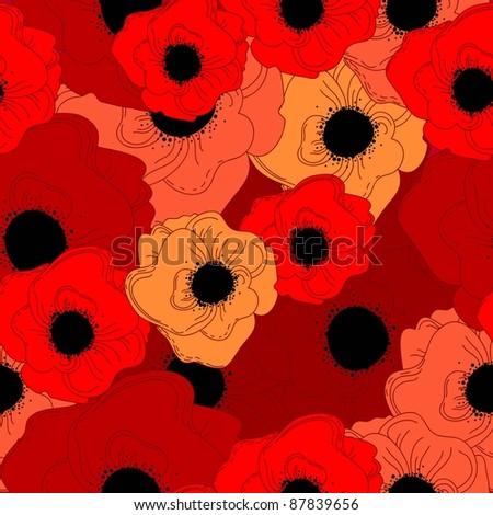 vector poppy pattern