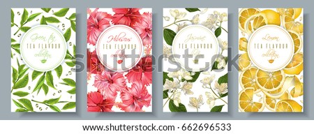 Vector popular tea flovour vertical banners set. Green tea, hibiscus, jasmine, lemon. Design for packaging, drink menu and tea products. Can be used as summer background
