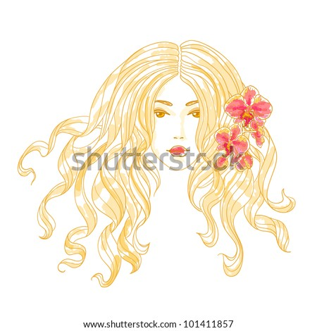 Vector portrait of a beautiful girl with long curly hair and orchid flowers.