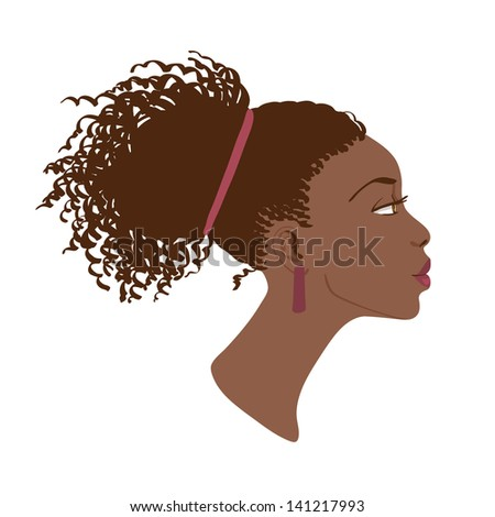 Stock Photo Vector portrait of beautiful African American woman. Side view
