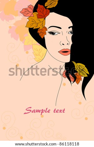 vector portrait of beautiful autumnal girl with place for text