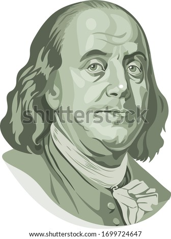 Vector portrait of Benjamin Franklin in front of the one hundred dollar bill Stock photo ©
