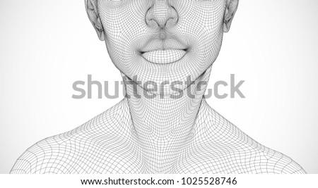 vector portrait of girl 3d