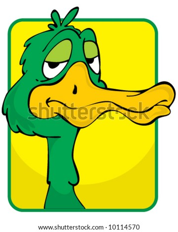 vector portrait of green duck with large orange bill