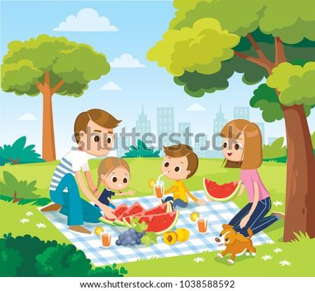 vector portrait of happy family