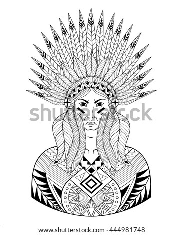 Vector Portrait of Indian head with zentangle War Bonnet. Decorative native zentangle man with feathers for adult coloring page, Tattoo art, ethnic patterned t-shirt print. Doodle Illustration design.