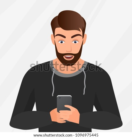 Vector portrait of surprised handsome young man with mobile phone.