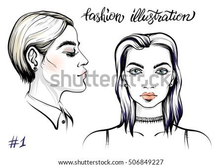 vector portrait of woman
