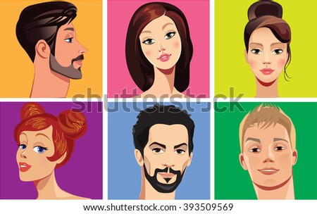 vector portraits of faces