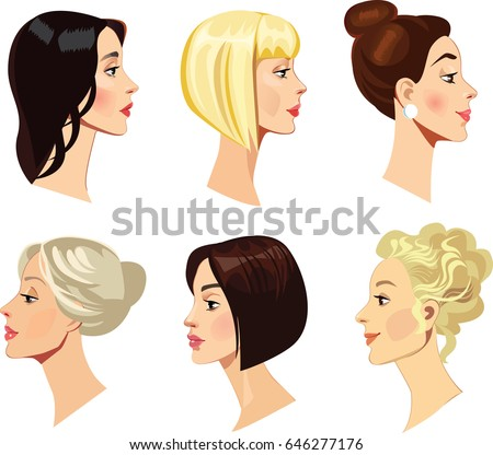 vector portraits of women in