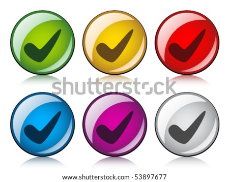 vector positive checkmark buttons - stock vector