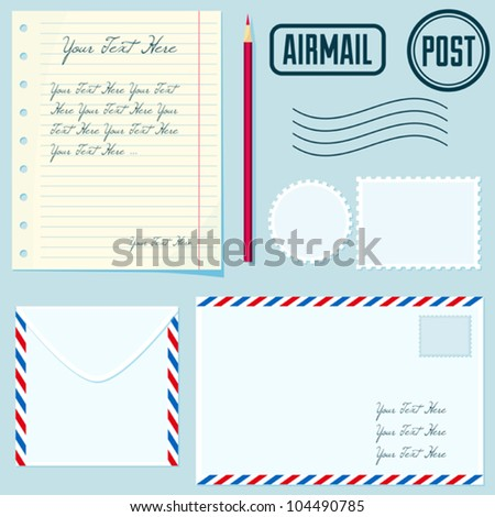 Vector post set with envelopes, stamp, paper, postmarks, pencil