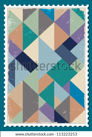 Vector post stamp with retro pattern