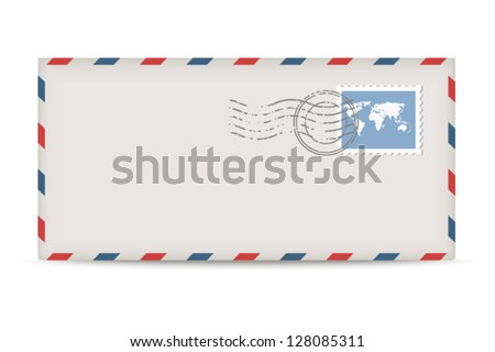 Vector postage envelope with stamps isolated on white background. - stock vector