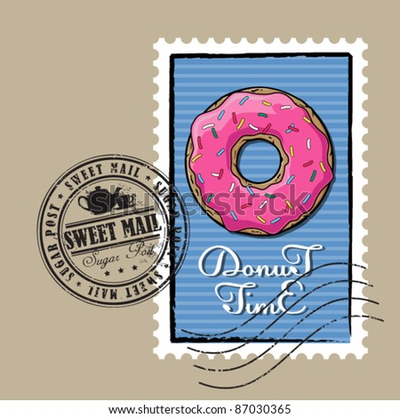 Vector postage set with donut and tea cup and teapot.
