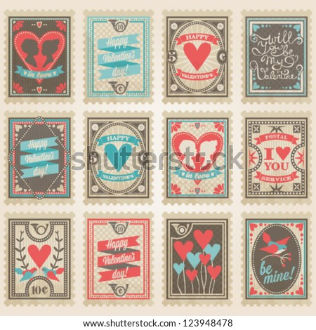 Vector postage stamps set Valentine's day collection