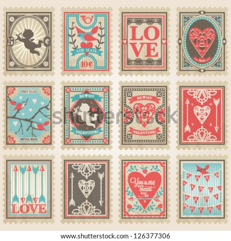 Vector postage stamps set. Valentine's day collection no.2