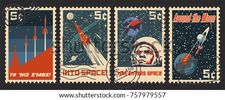 Vector Postage Stamps. Stylization under the Retro Soviet Space Propaganda