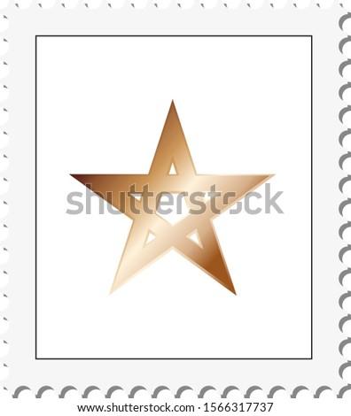 Vector postal stamp frame background. Abstract vector illustration with gold pentagram on white background.
