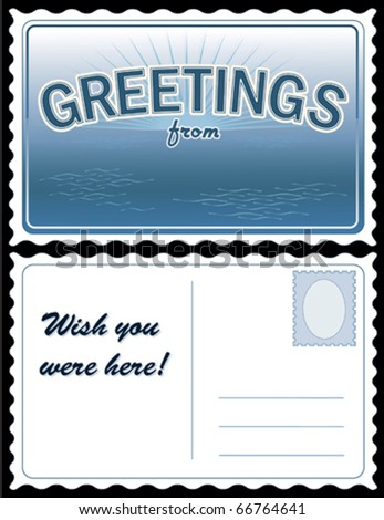 "vector - POSTCARD: Add Location.  Full size 8.5"" x 5.5"", blue. Front: ""Greetings from..."" add your own text or art. Back: copy space for message & address. EPS8 organized in groups for easy editing."