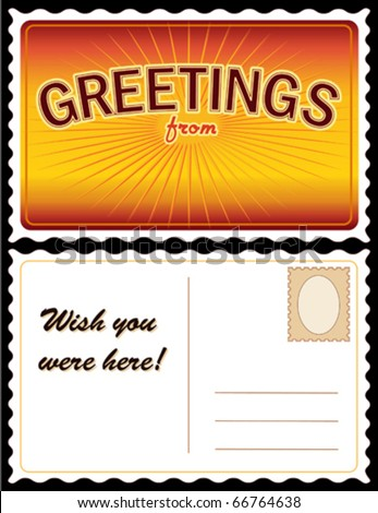 "vector - POSTCARD: Add Location.  Full size 8.5"" x 5.5"", gold. Front: ""Greetings from..."" add your own text or art. Back: copy space for message & address. EPS8 organized in groups for easy editing."