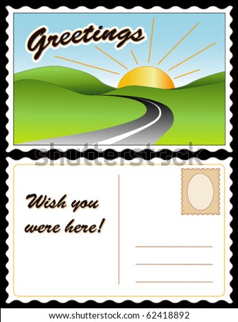 "vector - POSTCARD, Greetings, Wish You Were Here!  Full size postcard, front & back (8.5""x5.5"") travel landscape, copy space. EPS8 organized in groups for easy editing."