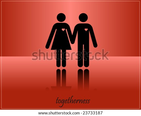 vector postcard - TOGETHERNESS- couple in love concept