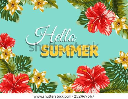 Hawaiian vectors download free vector art stock graphics images vector postcard with hawaian flowers invitation to beach party stopboris Gallery