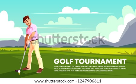 Vector poster, a banner of a golf tournament. Man playing on green grass. Background with athlete training on a field. Outdoor sports backdrop, hobby or recreational activity. Sky and mountains.