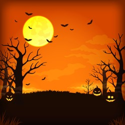 Vector poster, card, background design. Spooky orange night sky with full moon, clouds, bats, bare trees and pumpkins with glowing faces.
