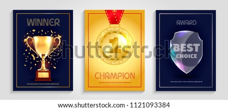 Vector poster design for winner, champion and best choice award.